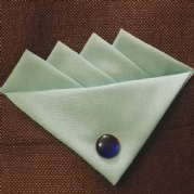 Blue (Coconut Blue) four Point Pocket Hankie & Pin
